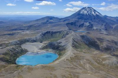 Aerial of the Blue Lake before Mount Ngauruhoe, Tongariro National Park, North Island