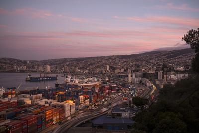 View of City and Ports at Dusk from Paseo 21 De Mayo, Cerro Playa Ancha, Valparaiso