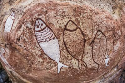Aboriginal Wandjina Cave Artwork in Sandstone Caves at Raft Point, Kimberley, Western Australia