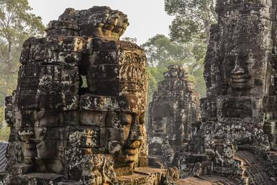 Four-Faced Towers in Prasat Bayon, Angkor Thom, Angkor, Siem Reap, Cambodia