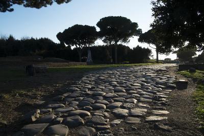 Main Decumano in the High Street, Ancient Ostia (Ostia Antica), Rome, Lazio, Italy, Europe