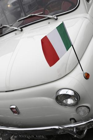 Italian Flag on Fiat 500 Car, Rome, Lazio, Italy, Europe