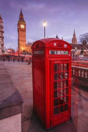 Typical English Red Telephone Box Near Big Ben, Westminster, London, England, UK