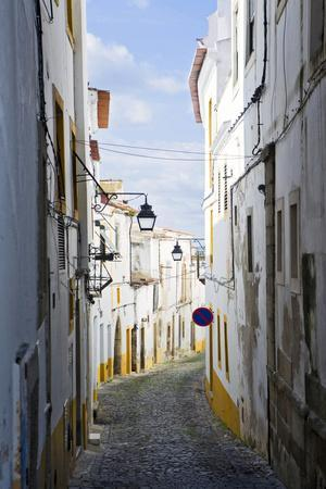 View Along the Medieval Cobbled Street of Rua Do Moeda in Historic Centre of Evora