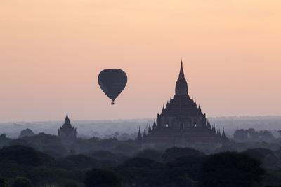 Hot Air Balloon over Temples on a Misty Morning at Dawn, Bagan (Pagan), Myanmar (Burma)