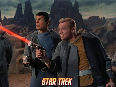 Star Trek: The Original Series, Mr. Spock and Starfleet Member Firing Phaser