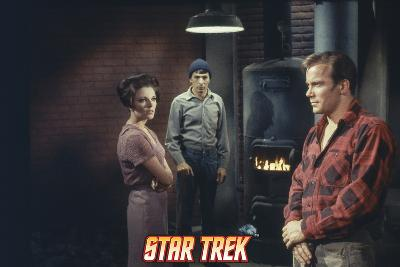 """Star Trek: The Original Series, Captain Kirk, Mr. Spock and Edith Keeler in """"The Planet on the Edge"""