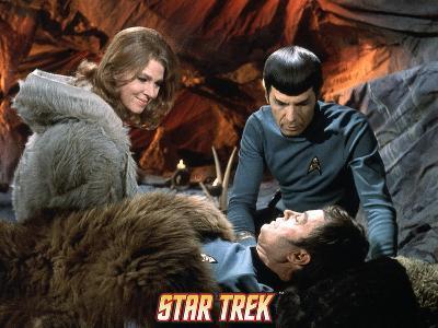 "Star Trek: The Original Series, Zarabeth, Spock, and Dr. McCoy in ""All Our Yesterdays"""
