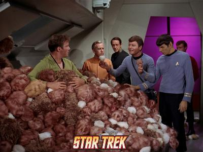 """Star Trek: The Original Series, Captain Kirk, Dr. McCoy and Spock in """"The Trouble with Tribbles"""""""