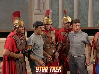 """Star Trek: The Original Series, Dr. McCoy and Mr. Spock in """"Bread and Circuses"""""""