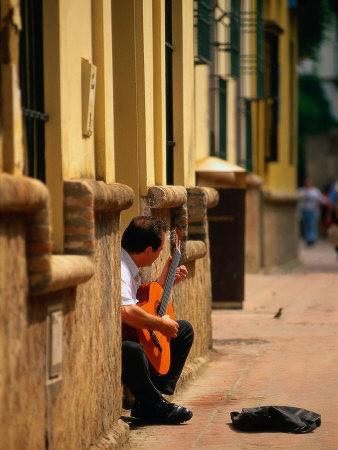 Guitarist Along Callejon Del Agua, Seville, Spain