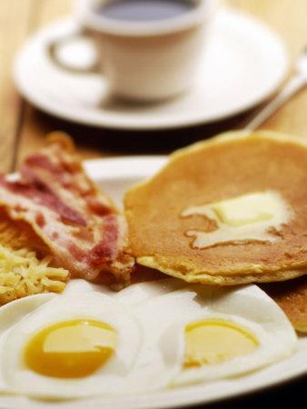 American Breakfast of Pancakes, Eggs, and Bacon