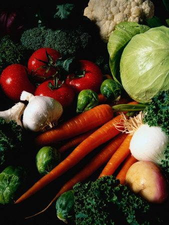 Carrots, Tomatoes, Lettuce, Garlic, and Broccoli