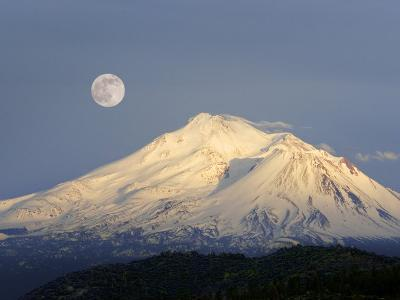Winter View of Mt. Shasta, in Northern Ca, with Full Moon Rising