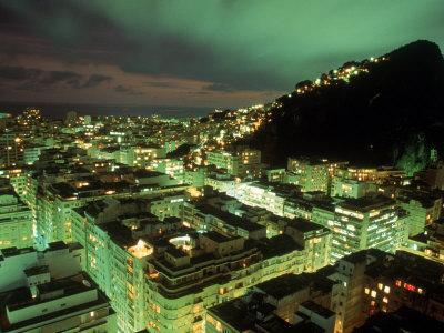 Copacabana and Ipanema Districts at Night, Brazil