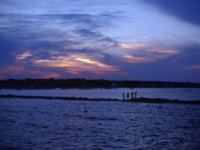 People Walking by Water at Sunset, Scituate, MA