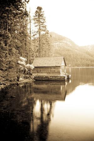 Scenic Image of Boathouse on Fallen Leaf Lake, California