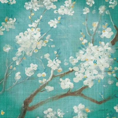 White Cherry Blossoms I on Blue Aged No Bird