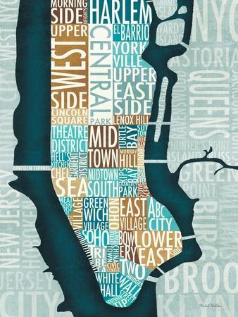 Manhattan Map Blue Brown