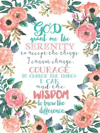 Serenity Prayer Floral Poster By Jo Moulton At Allposterscom
