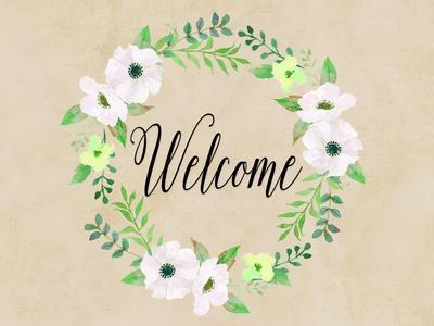 Welcome Green Wreath