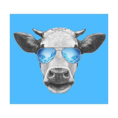Portrait of Cow. Hand Drawn Illustration.