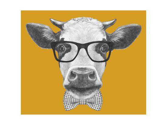 72ec09da48f Portrait of Cow with Glasses and Bow Tie. Hand Drawn Illustration. Posters  by victoria novak at AllPosters.com