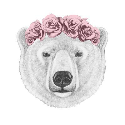 Portrait of Polar Bear with Floral Head Wreath. Hand Drawn Illustration.