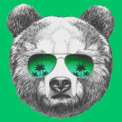 bb35c7e7c72 Original Drawing of Bear with Mirror Sunglasses. Isolated on Colored  Background