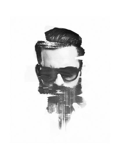 BW Portrait of Bearded Man. Double Exposure with and City On Prints ...