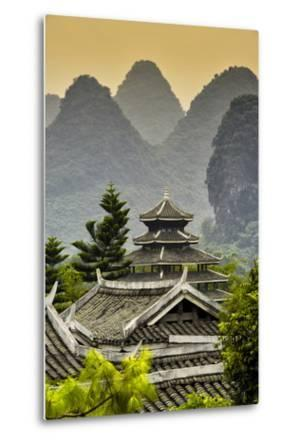 China 10MKm2 Collection - Chinese Buddhist Temple with Karst Mountains at Sunset