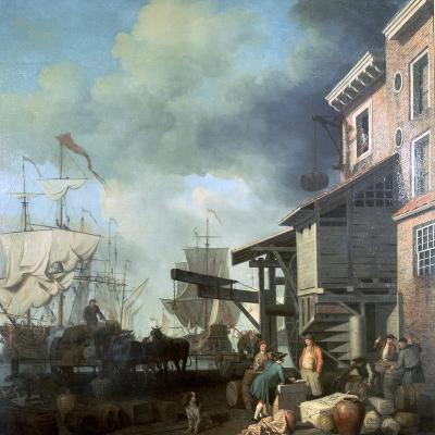 Painting of Old Custom House Quay, 18th Century