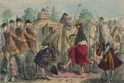 Georgy Porgy the First Going Out for a Ride in His State Coachy Poachy, 1850