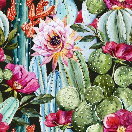 Watercolor Cactus Pattern Poster By Zenina At Allposters Com