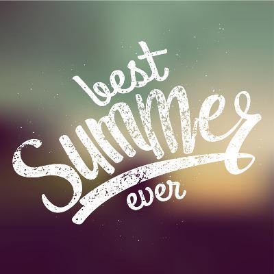 Best Summer Ever Handwritten Text. Blurred Evening. Vector Illustration