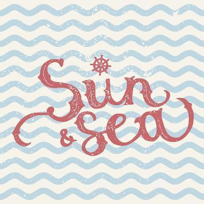 Sun and Sea Ship Wheel Calligraphy. Vector Illustration