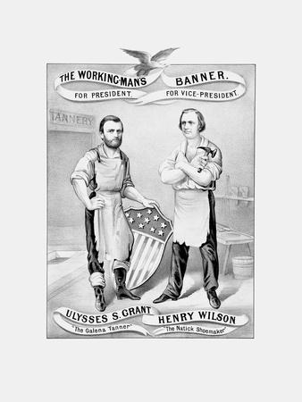 American History Election Print Featuring Ulysses S. Grant and Henry Wilson