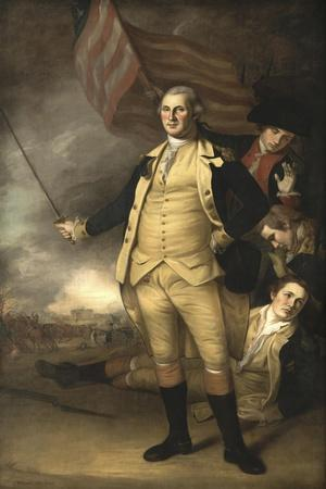 Painting of General George Washington at the Battle of Princeton