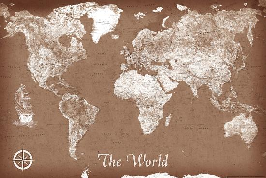 Vintage Style Map Of The World Poster Print At Allposters Com