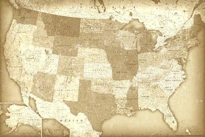 Vintage Style United States Map Poster Posters at AllPosters.com