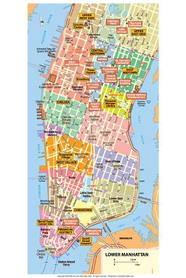 Map Of Manhattan Nyc Michelin Official Lower Manhattan NYC Map Poster Print at