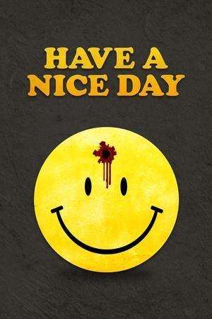 Have a Nice Day Smiley Face with Bullet Hole Black