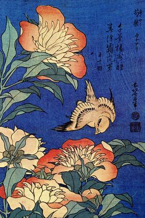 Katsushika Hokusai A Bird And Flowers
