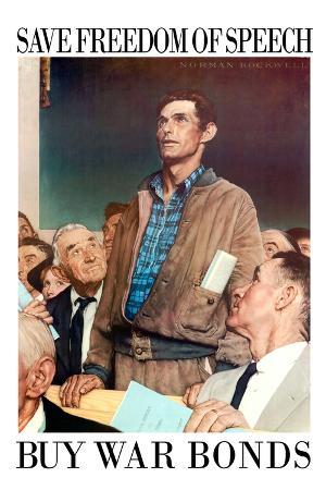 Norman Rockwell Save Freedom of Speech WWII War Propaganda