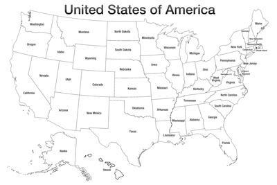 United States of America Map USA Coloring Prints at AllPosters.com