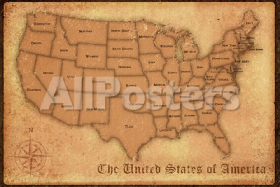 United States Vintage Style Map on united states map poster, united states map color, united states map 1860,