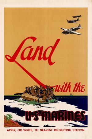 Land with the U.S. Marines WWII War Propaganda