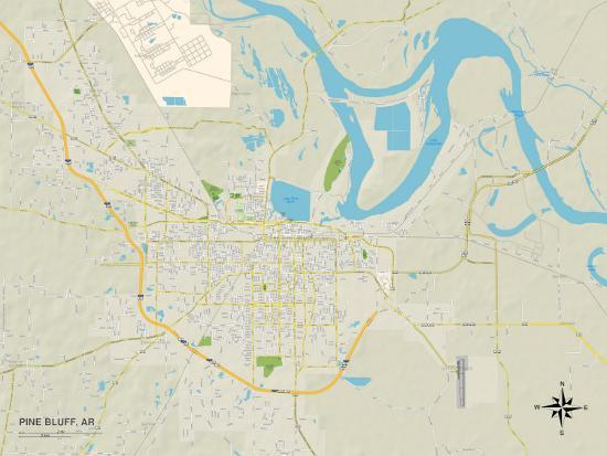 Political Map Of Pine Bluff Ar Print At Allposters Com