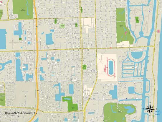 Political Map Of Hallandale Beach Fl Art At Allposters Com