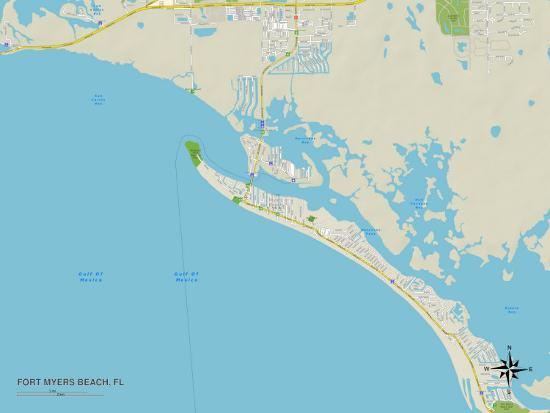 Map Of Fort Myers Beach Florida.Political Map Of Fort Myers Beach Fl Art At Allposters Com